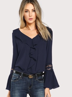 Jabot Collar Guipure Lace Flounce Sleeve Top