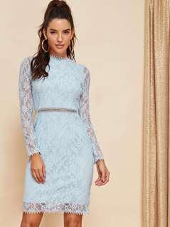 Lace Contrast Mock-Neck Dress