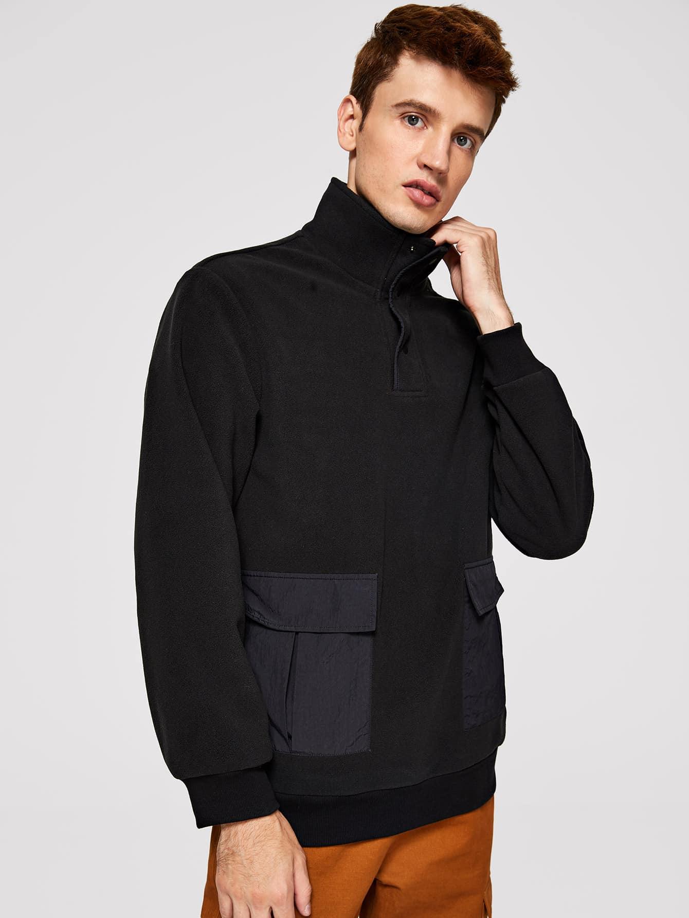 Фото - Для мужчин куртка на молнии с карманом от SheIn черного цвета