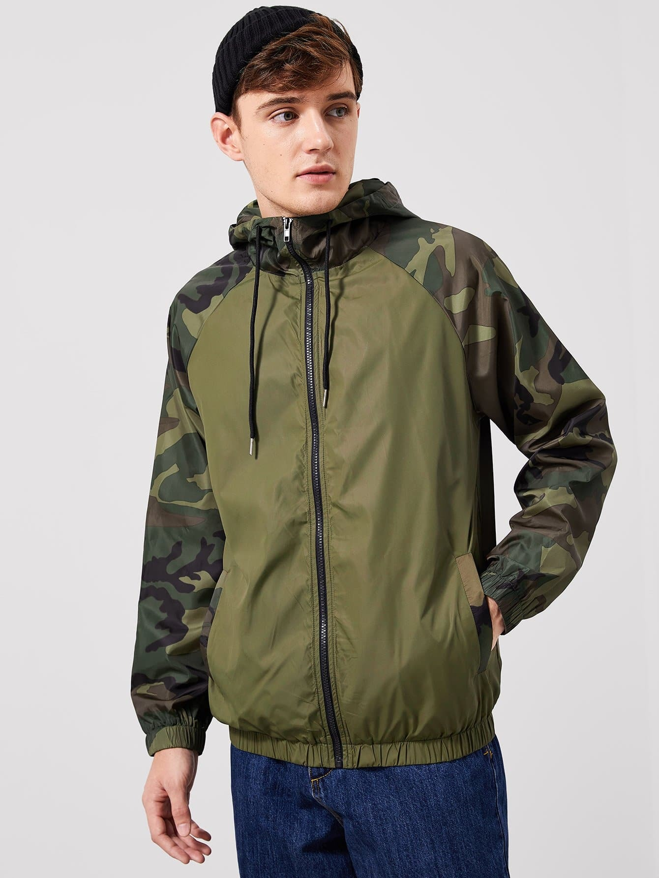 Фото - Для мужчин камуфляжная куртка с капюшоном на молнии от SheIn цвет цвета хаки