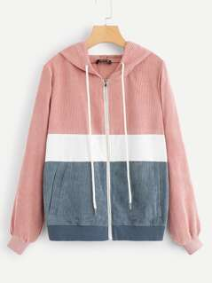 Colorblock Zip Front Drawstring Hooded Corduroy Jacket