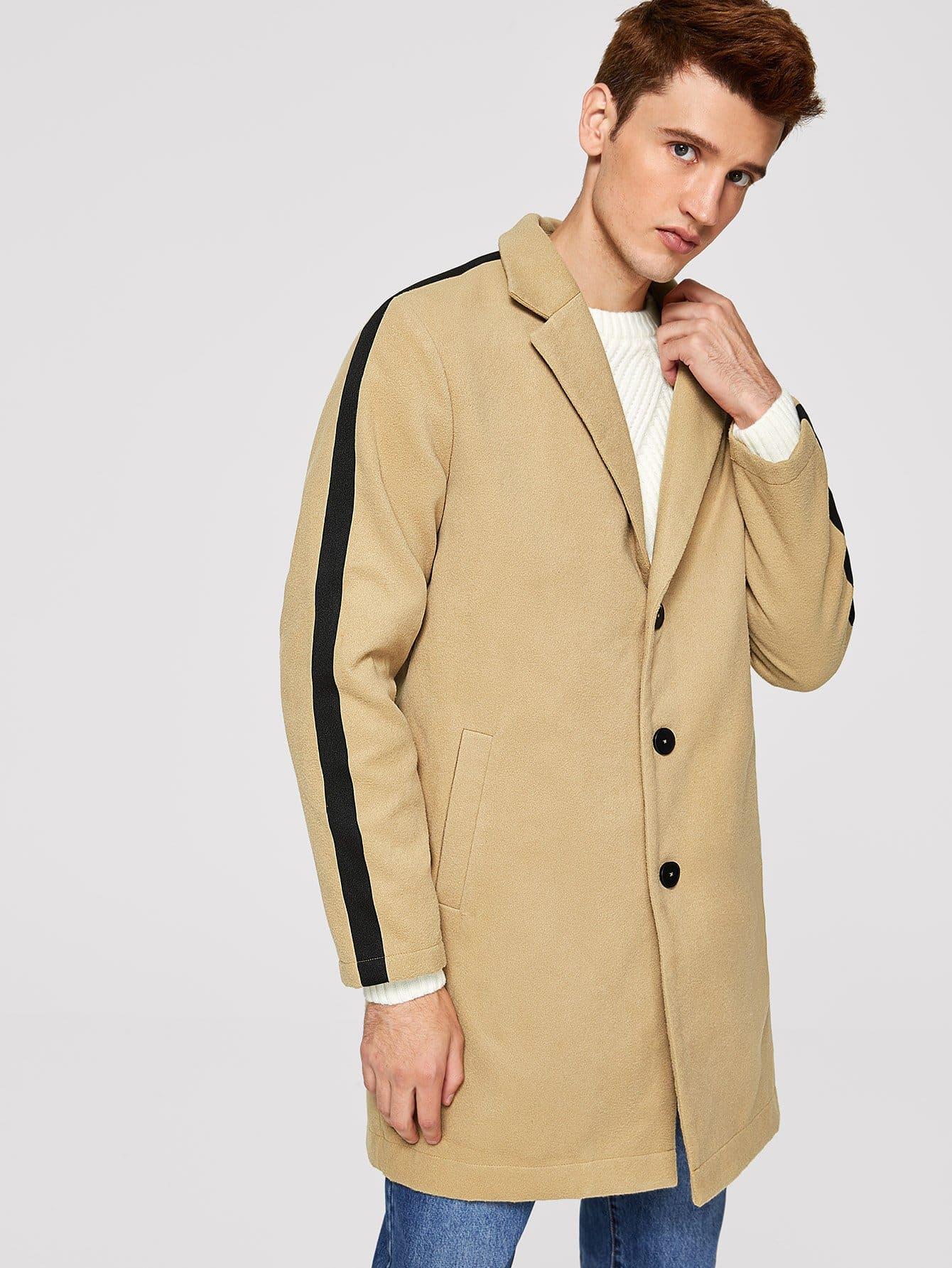 Купить Для мужчин пальто на пуговицах с карманом, Oleg, SheIn