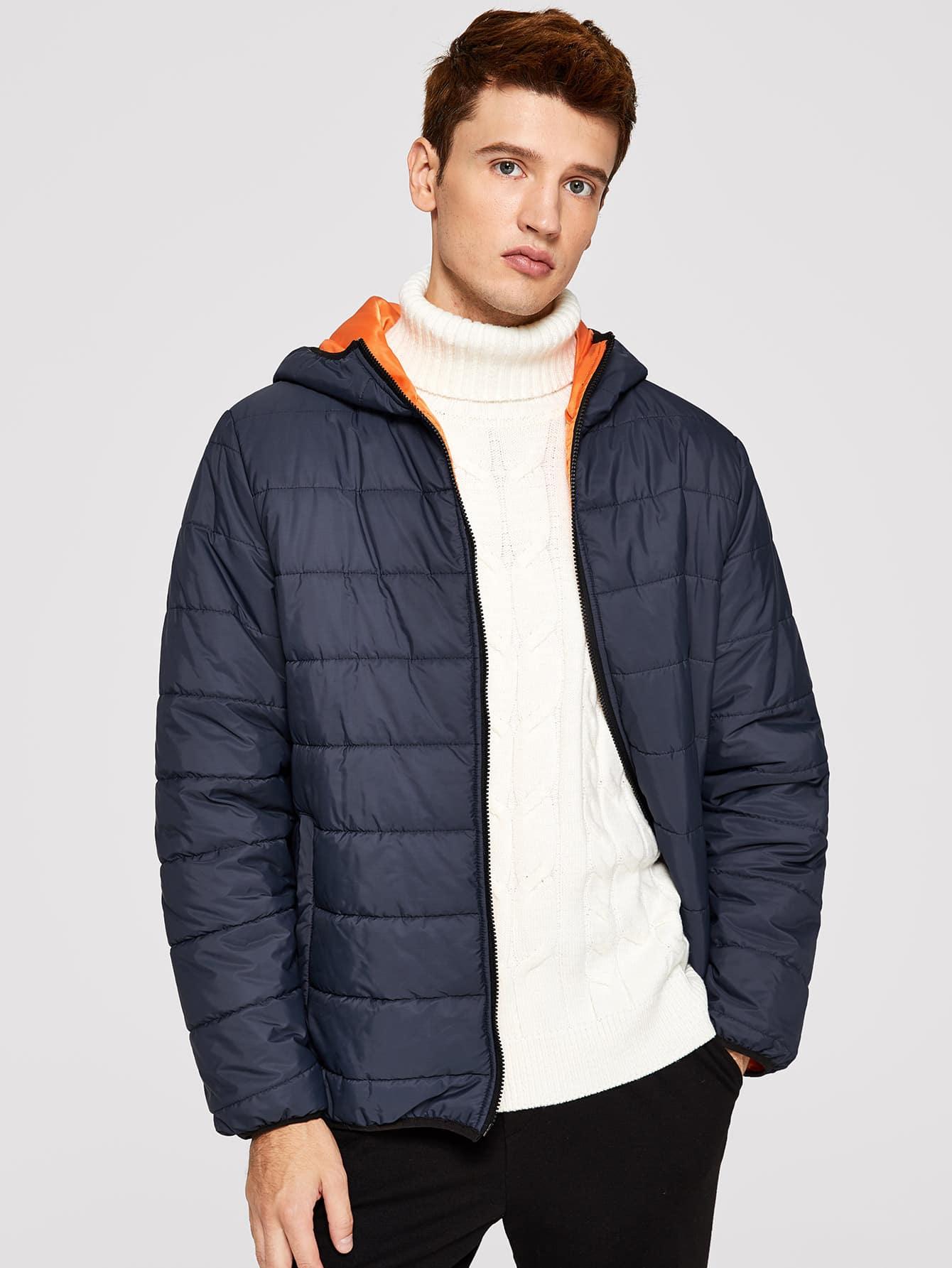 Фото - Ватная куртка с капюшоном для мужчин от SheIn цвет темно синий