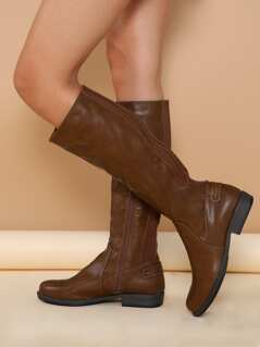 Knee High Almond Toe Stretch Sides Riding Boots