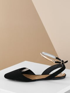 Gold Detail Ankle Strap Pointed Ballet Flats
