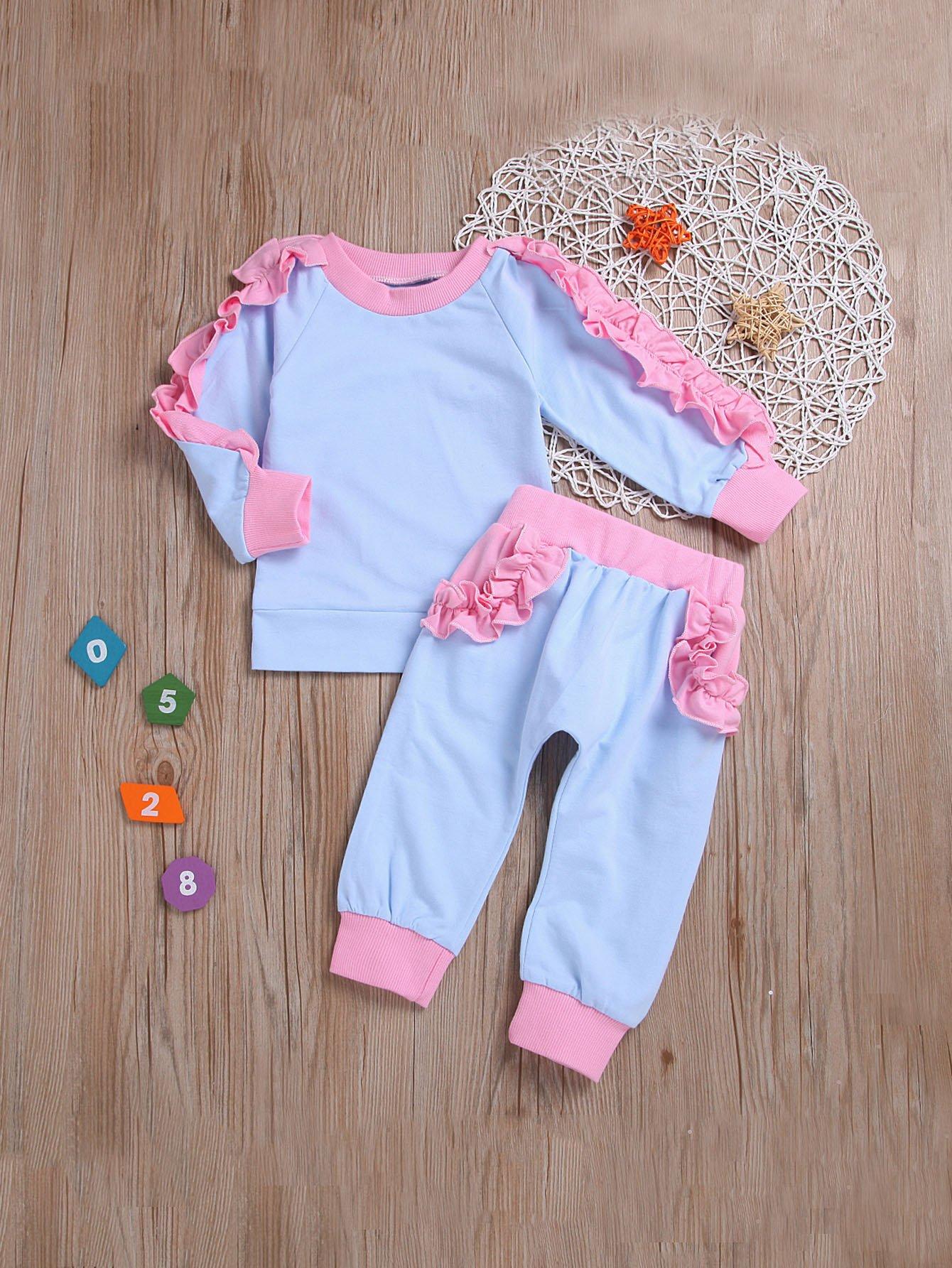 Свитшот с кружевными оборками и брюки для малышских девочек, null, SheIn  - купить со скидкой