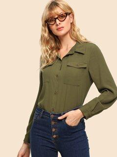 70s Pocket Patched Curved Hem Shirt