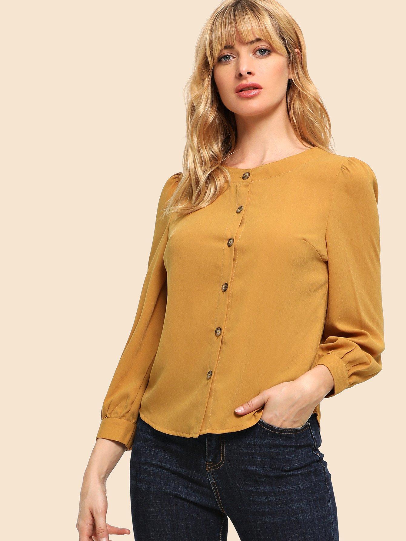 Фото - 80 'S рубашка с пышными рукавами от SheIn желтого цвета