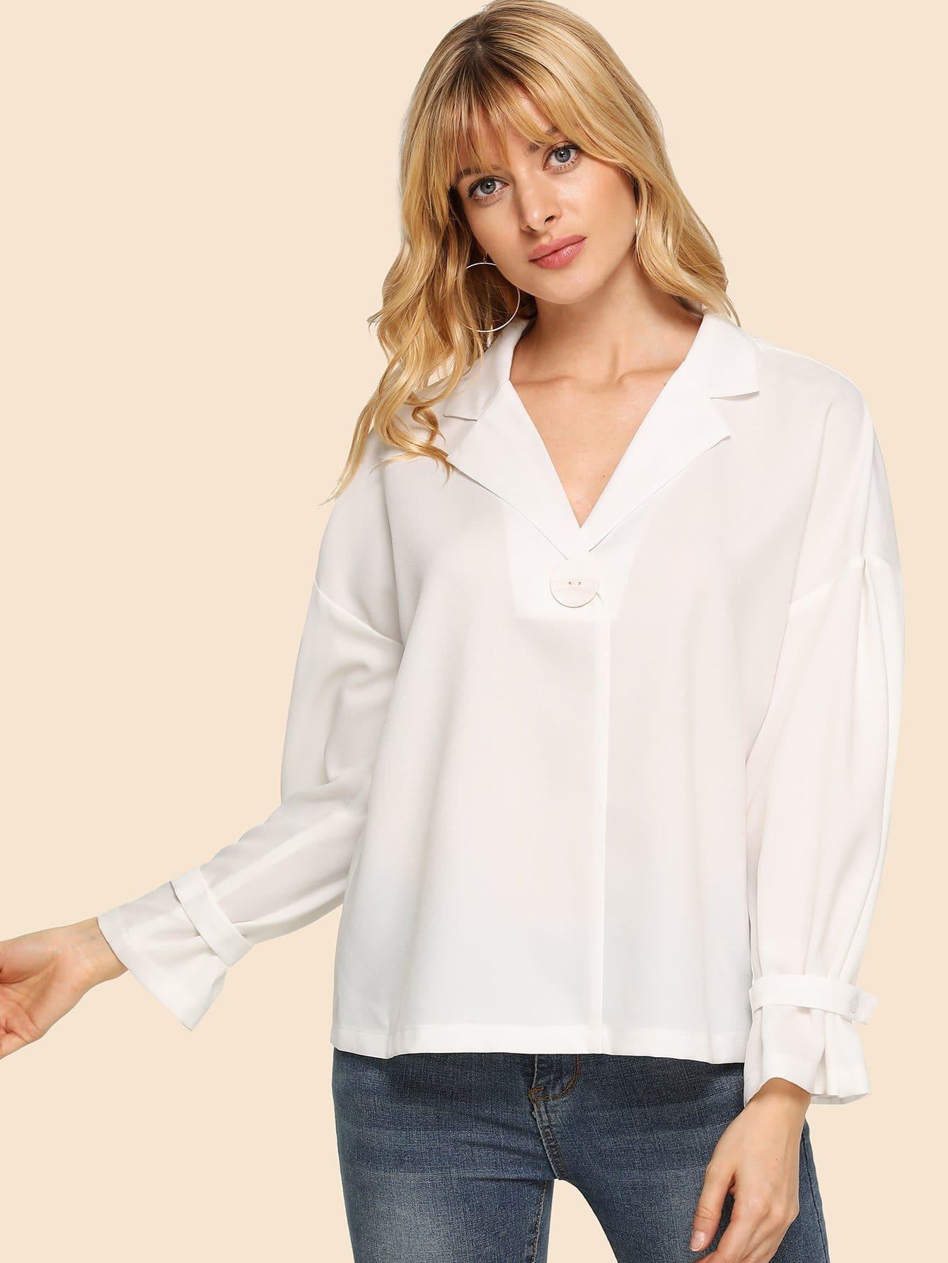 Купить 80 'S блузка с оборками рукавами, Masha, SheIn