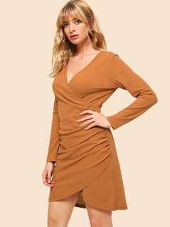 70s Ruched Side Overlap Hem Dress