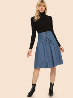 70s Boxed Pleated Lace Up Skirt