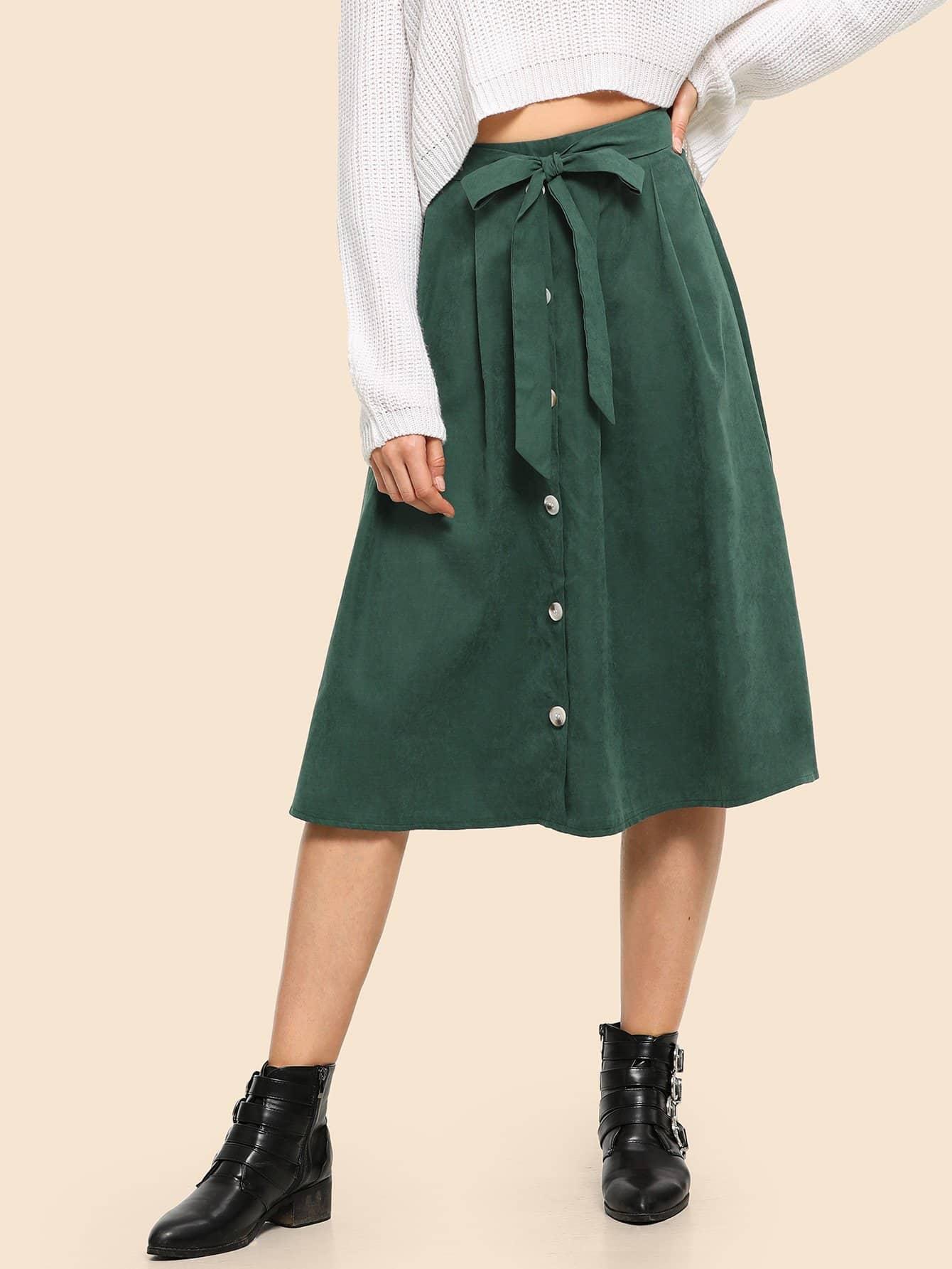 Фото - 80 'S юбка на пуговицах с поясом от SheIn зеленого цвета