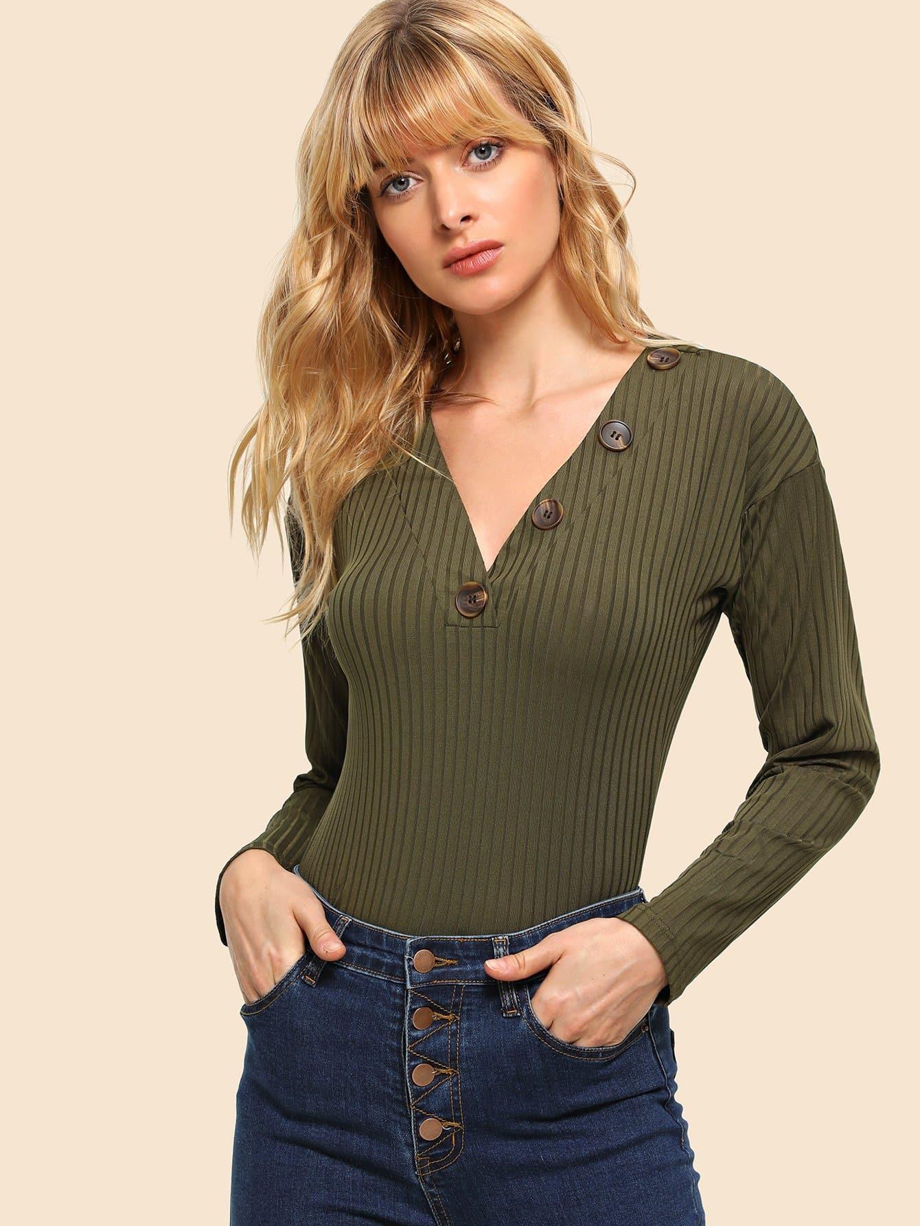 Купить 80 'S вязанная футболка на пуговицах, Masha, SheIn