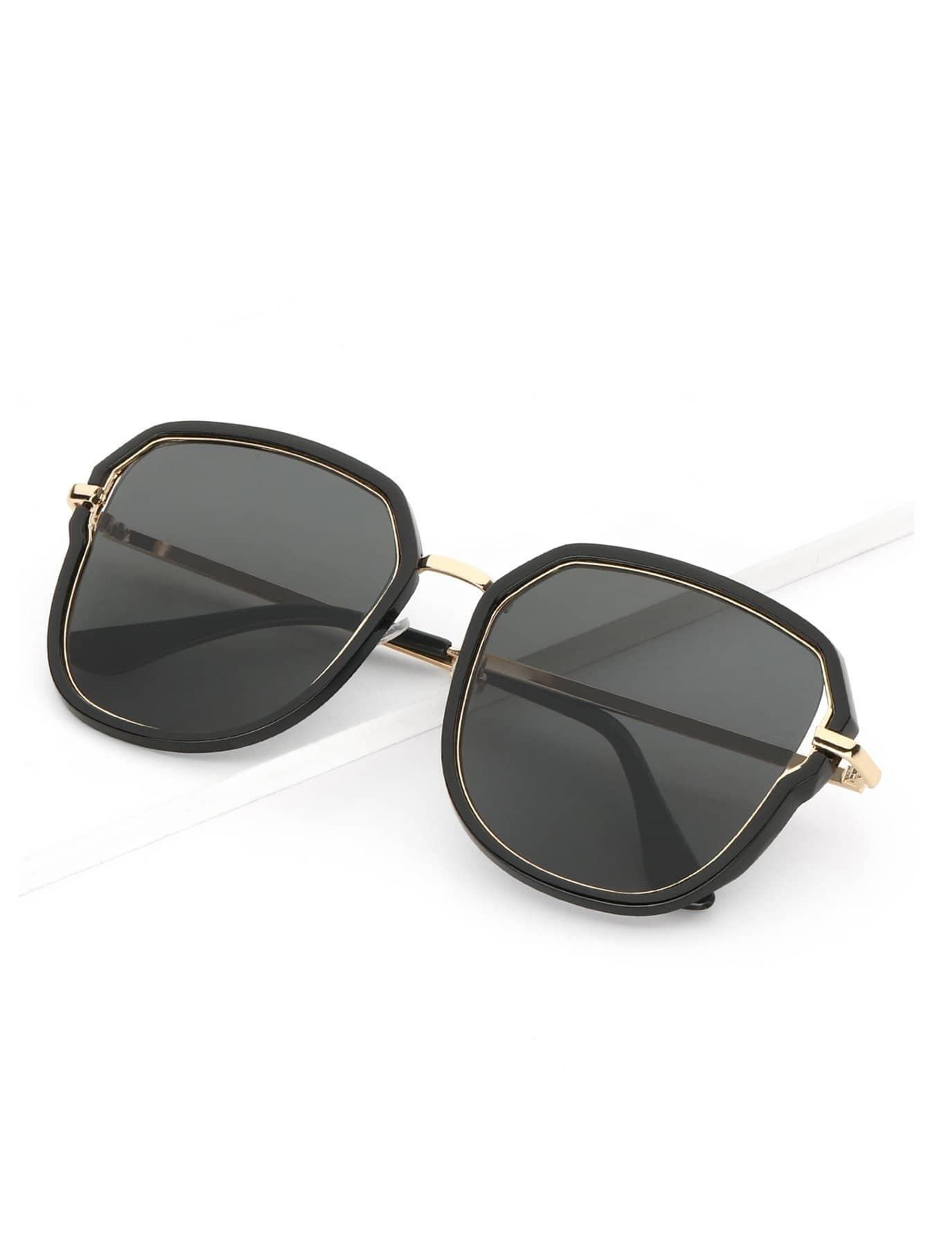 Купить Мужские солнцезащитные очки с двойными оправами, null, SheIn