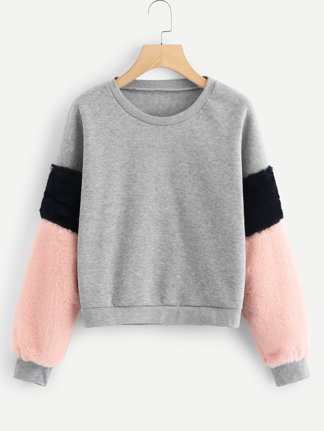 Купить Контрастный свитшот с цветовой блокировкой и искуственным мехом размера плюс, null, SheIn