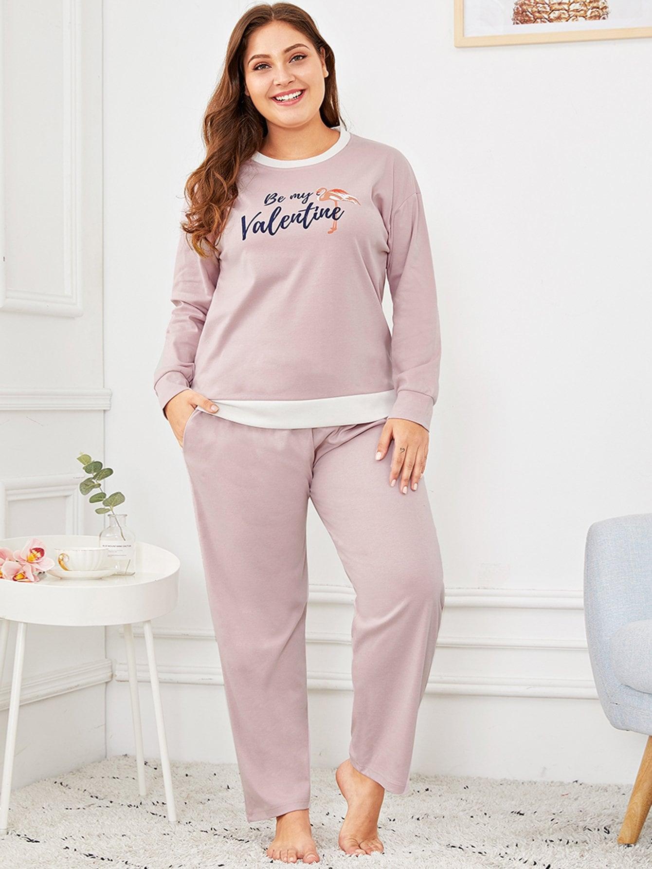 Купить Размера плюс пижама с принтом текстовым и графическим, Carol, SheIn