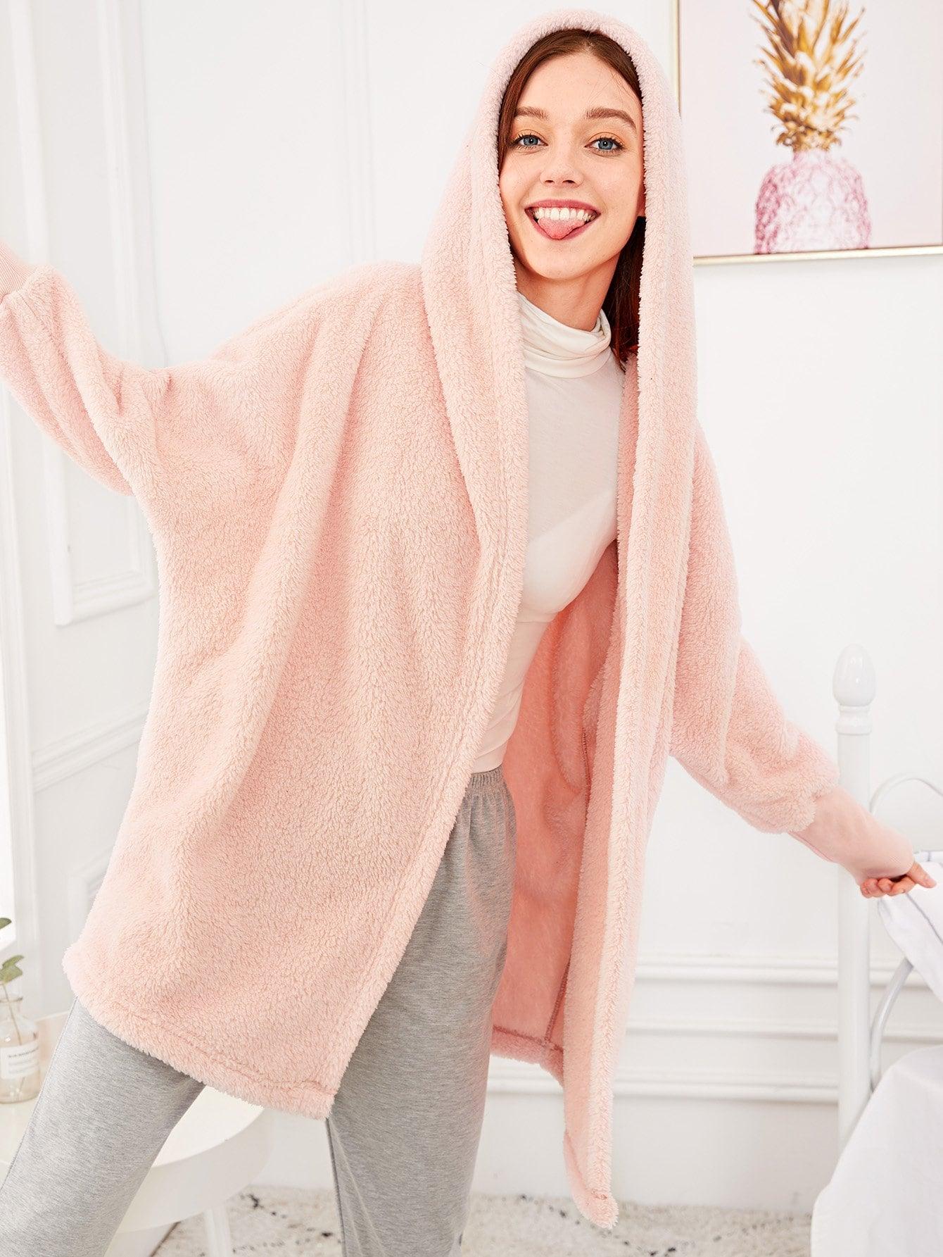 Купить Однотонный пушистый халат с капюшоном, Poly, SheIn