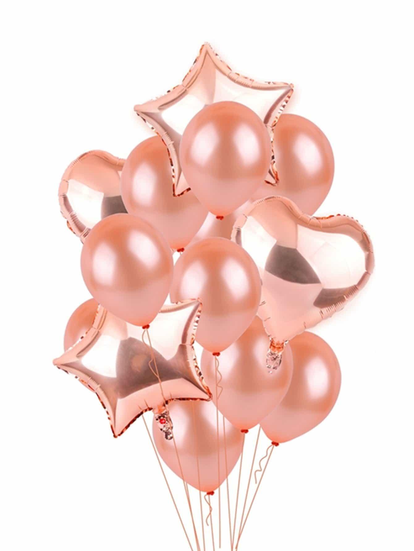 Купить Круглый воздушный шар 10 шт и воздушный шар в форме сердца 2 шт и воздушный шар в форме звезды 2 шт, null, SheIn