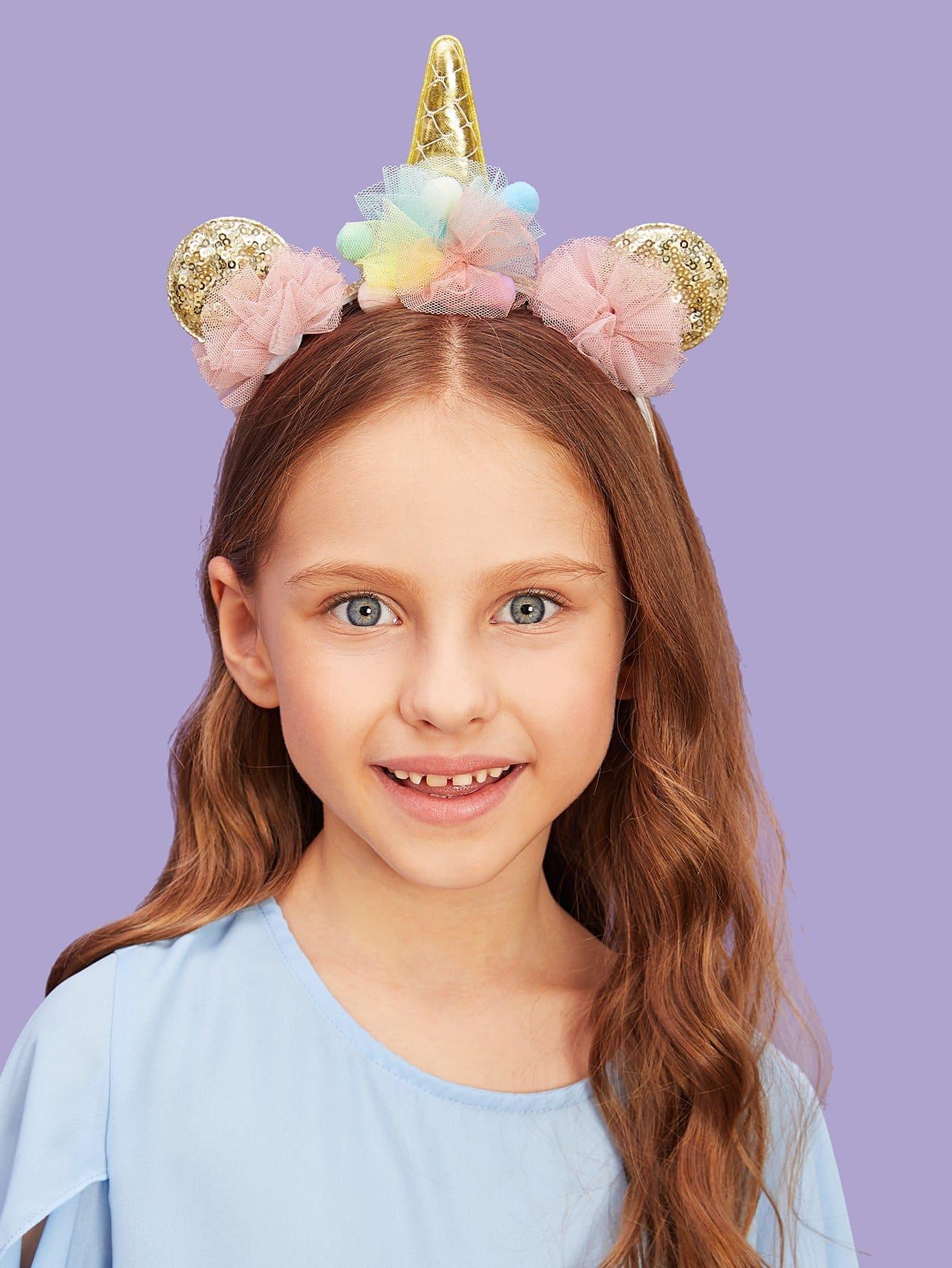 Купить Сетчатый ободок для волос и с украшением уха фольги для девочки, null, SheIn