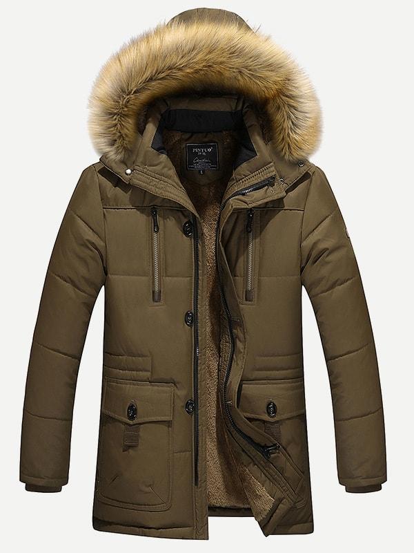 Фото - Мужское мягкое пальто с капюшоном и шерстяшной подкладкой от SheIn цвет цвета хаки