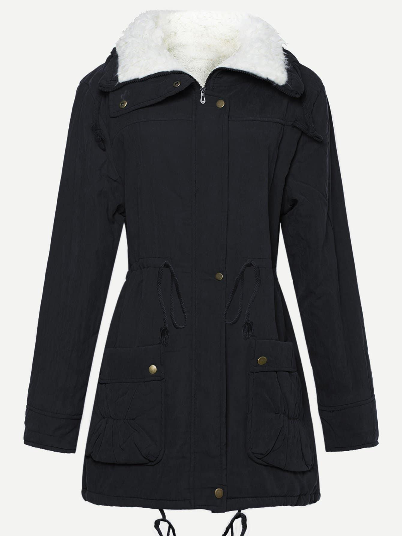 Фото - Пальто с эластичной талией и подкладкой из искусственных кож от SheIn цвет темно синий