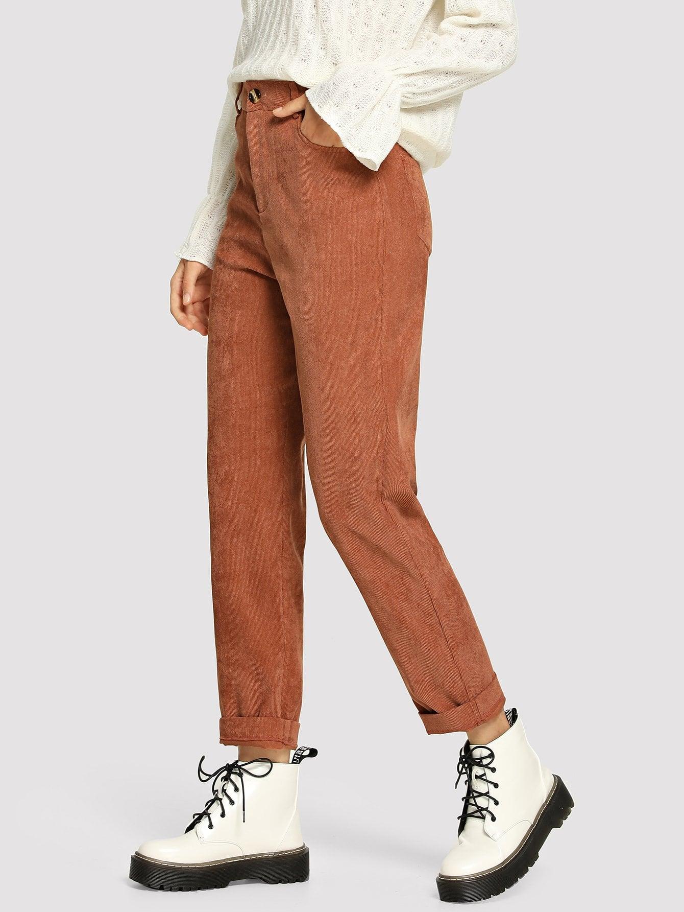 Фото - Однотонные вельветовые брюки от SheIn цвет бургундия