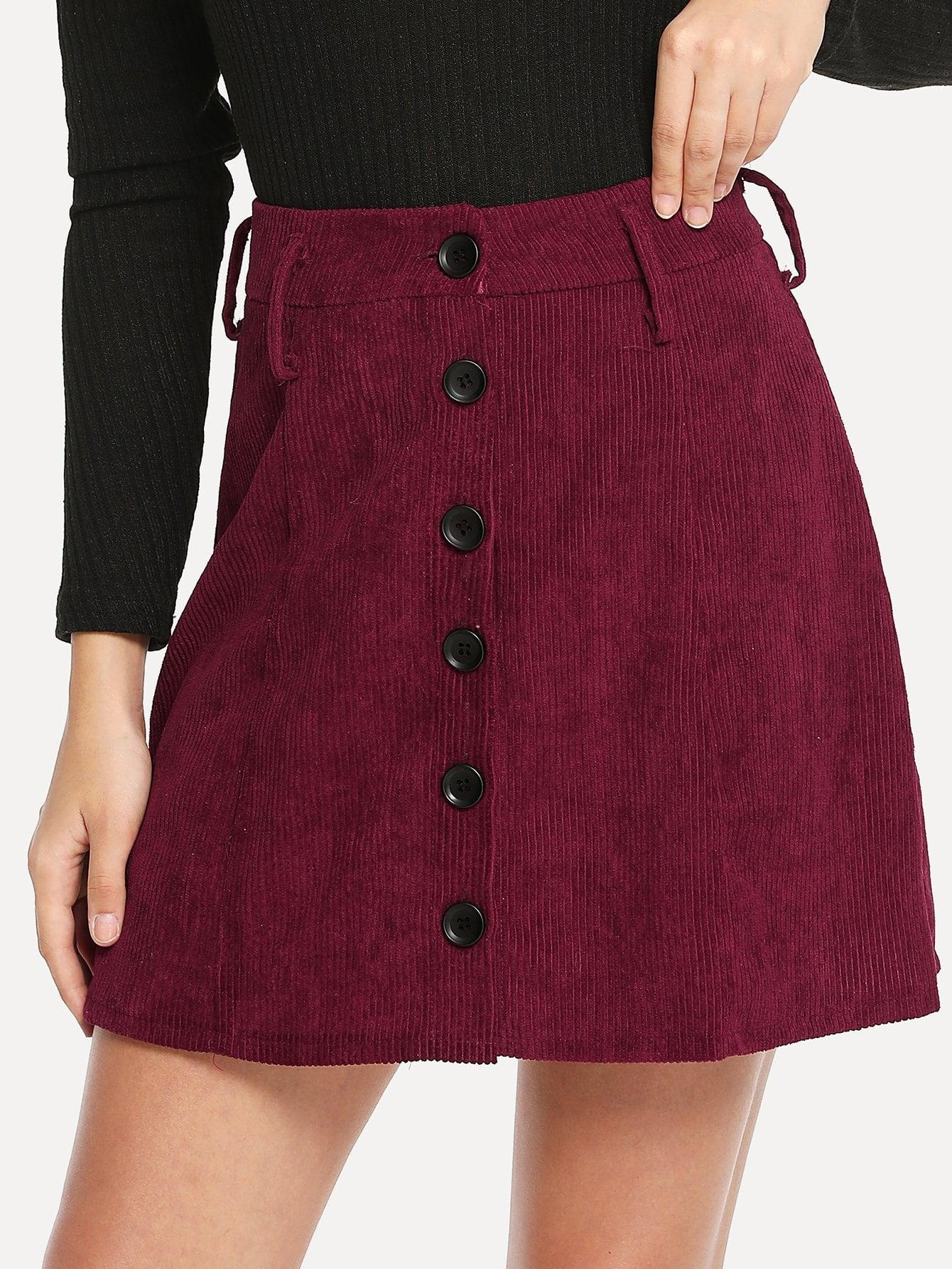 Фото - Однобортная вельветовая юбка от SheIn бордового цвета