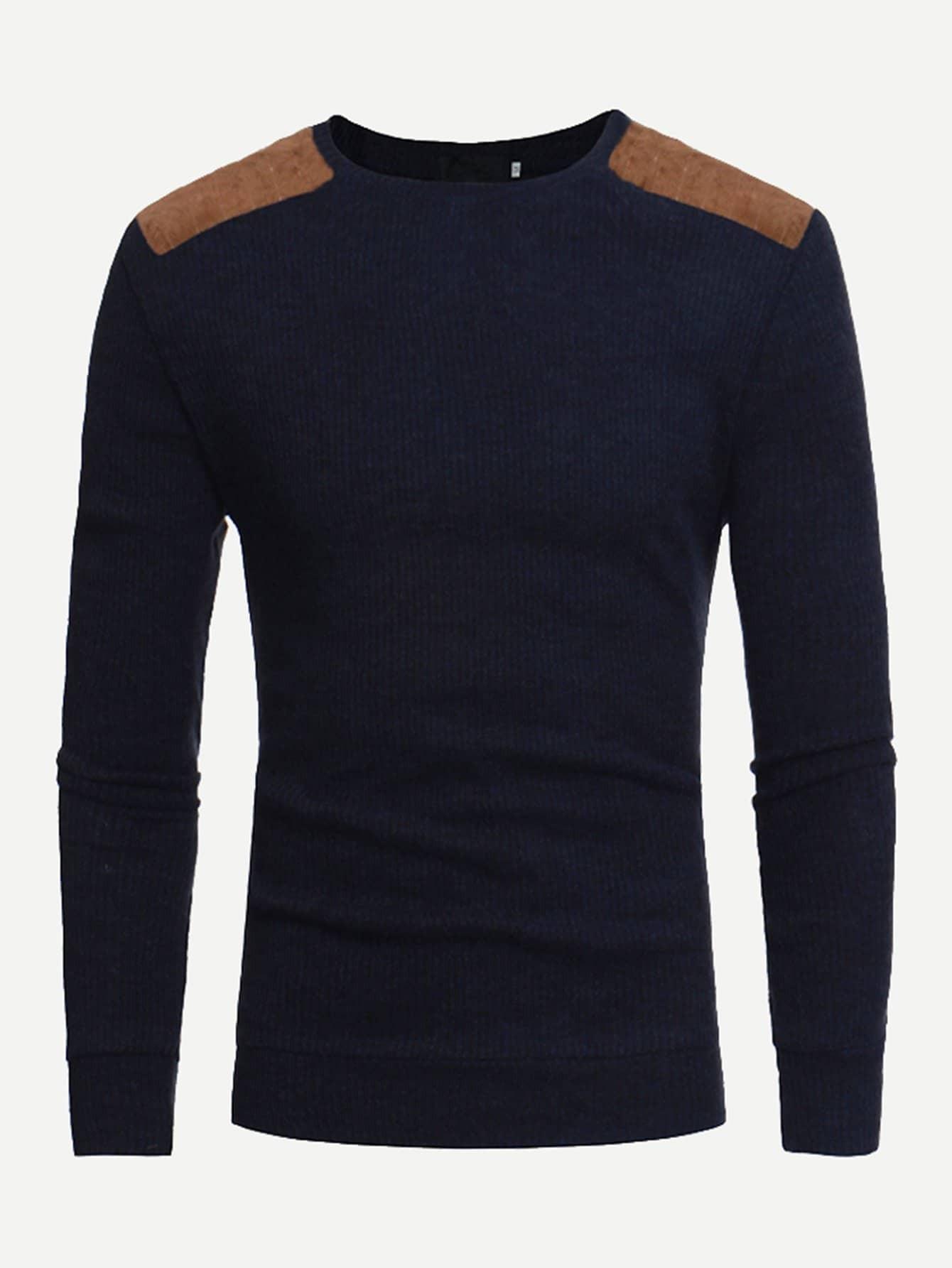 Фото - Мужский контрастный свитер от SheIn тёмно-синего цвета
