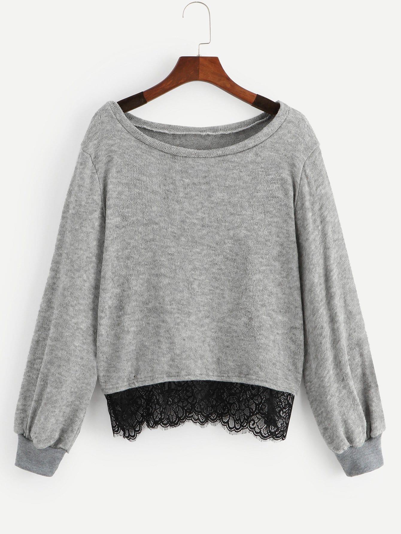 Фото - Контрастный однотонный свитер с кружевами от SheIn серого цвета