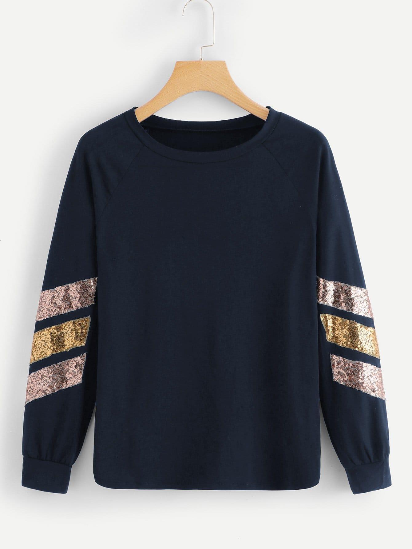 Фото - Контрастная полосатая футболка пайетки от SheIn тёмно-синего цвета