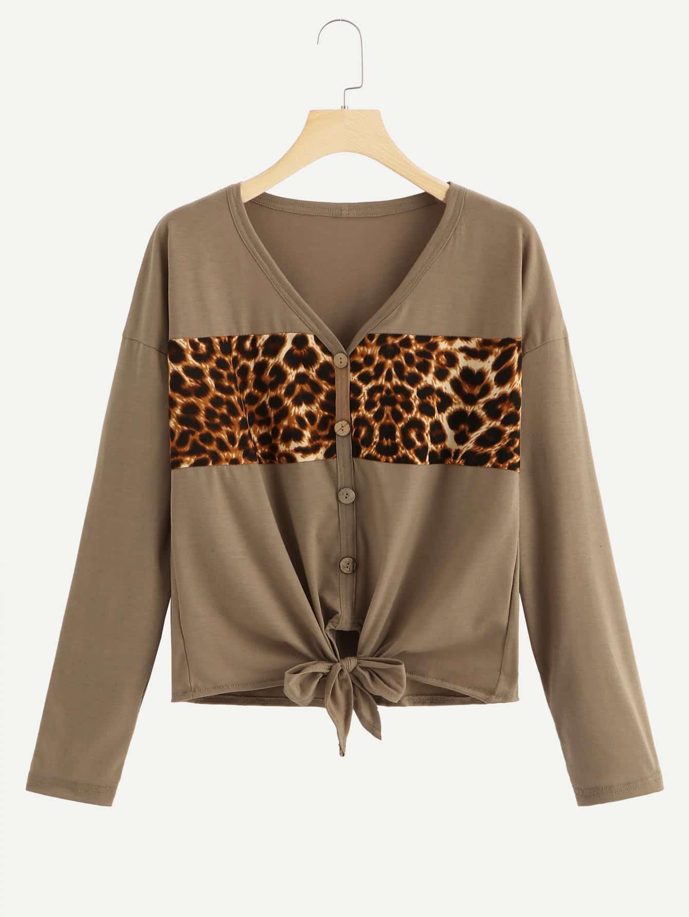 Купить Контрастная леопардовая футболка с бантом, null, SheIn