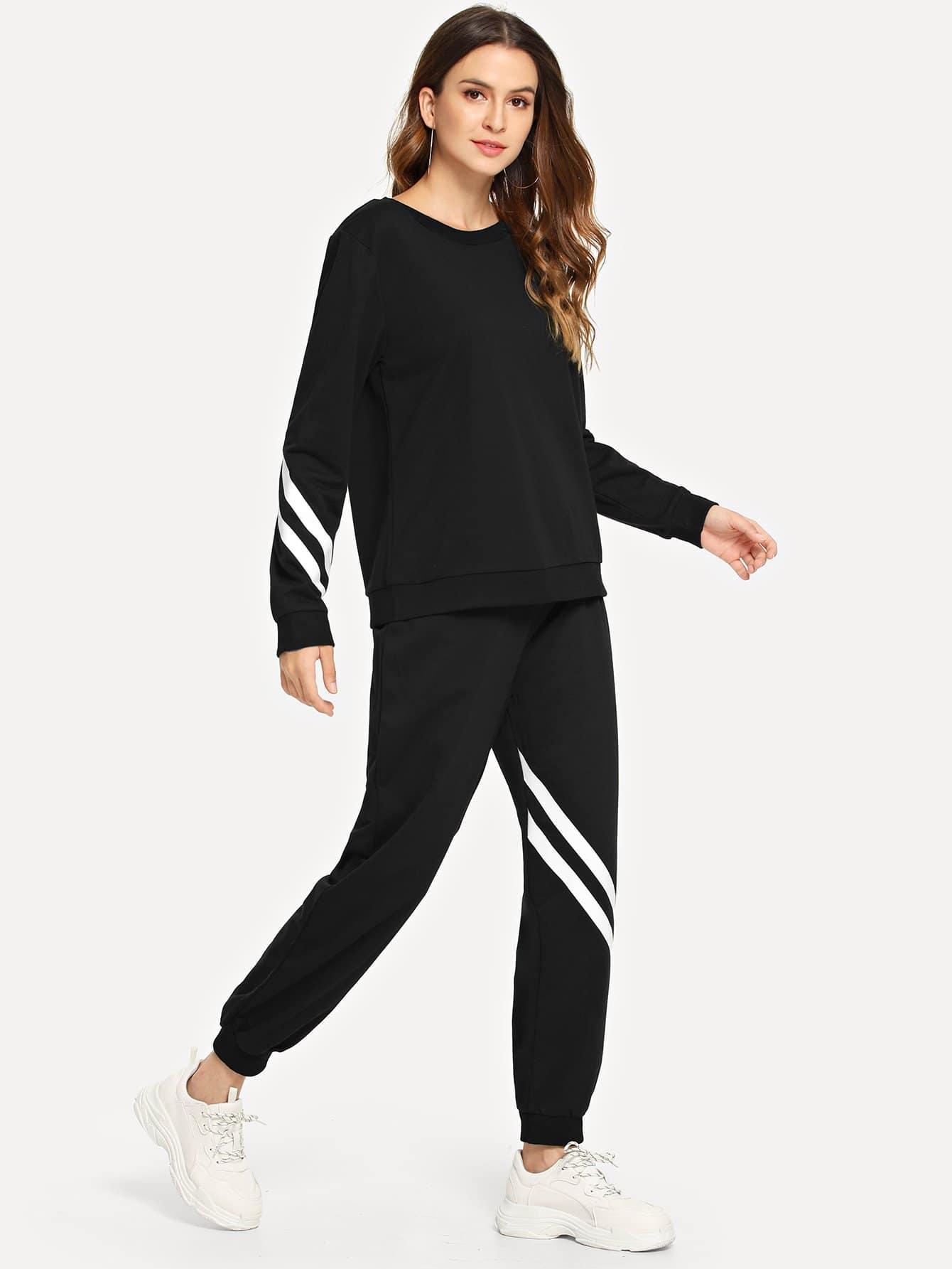 Фото - Полосатый свитшот униформы и брюки от SheIn черного цвета