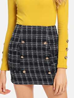 Double Breasted Tweed Skirt