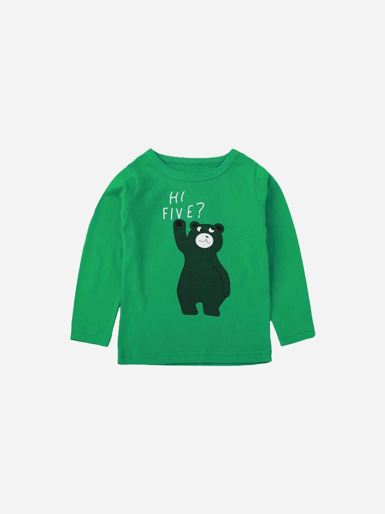 Купить Футболка с рисунками медведя и буквы для мужчины, null, SheIn