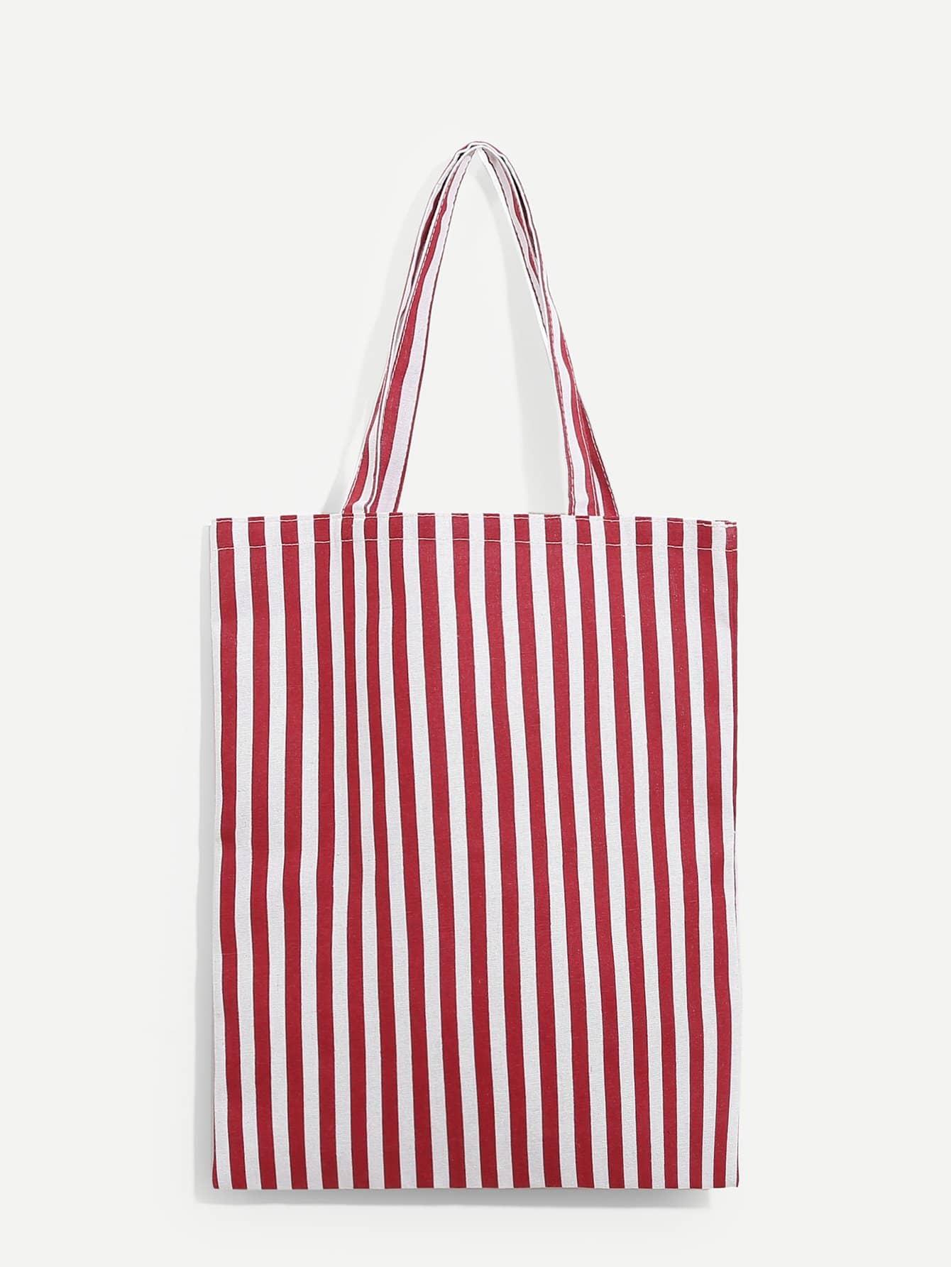 Купить Парусиновая сумочка в полоску, null, SheIn