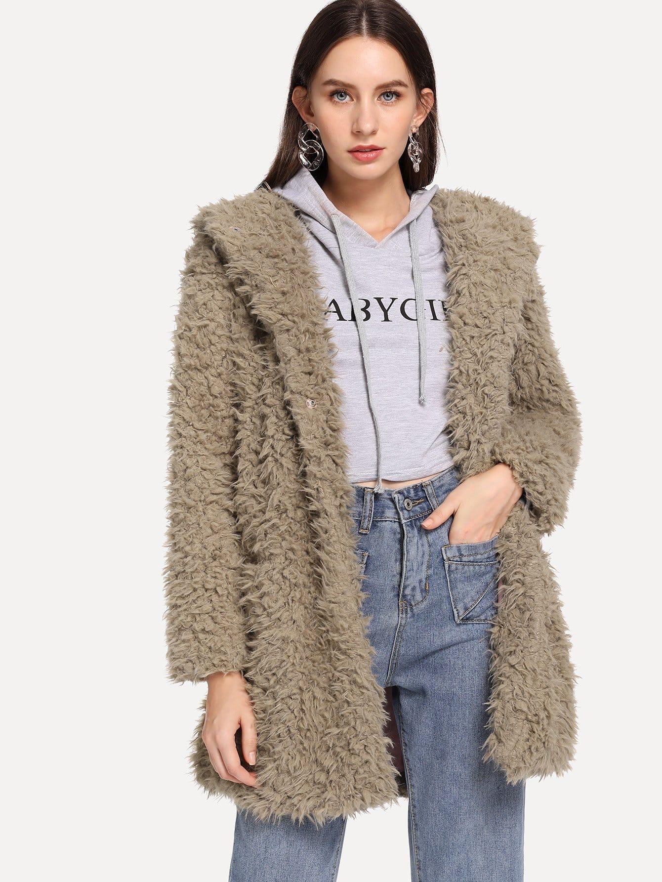 Купить Тедди пальто с капюшоном из искусственного меха, Kate B, SheIn