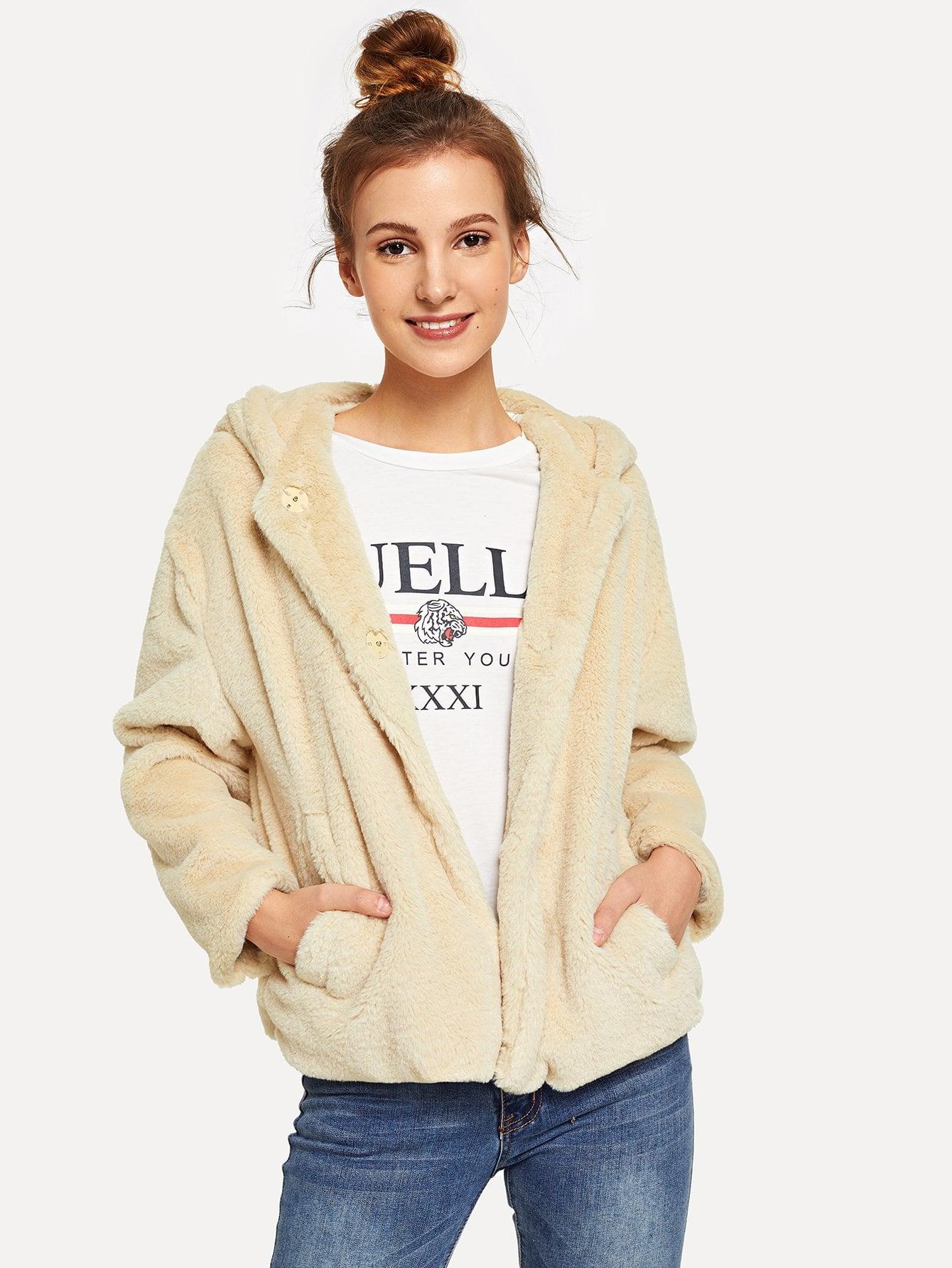 Купить Пушистое тедди пальто с капюшоном с карманом, Galina, SheIn