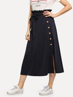 80s Frilled Waist Button & Slit Side Skirt