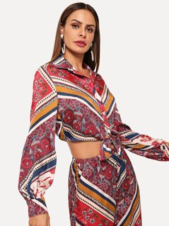 Knot Hem Mixed Print Blouse