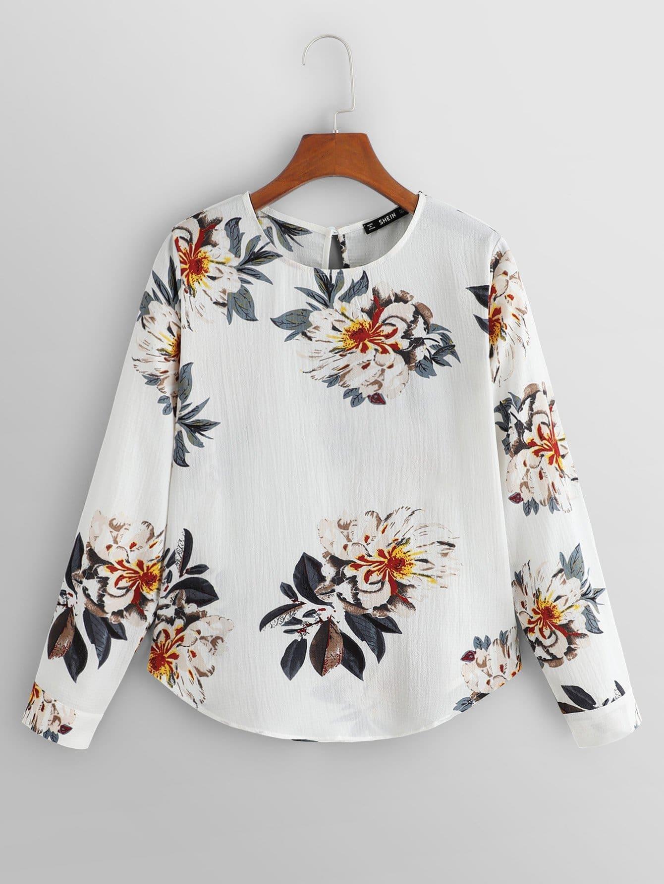 Купить Ситцевая блуза с замочной скважиной сзади одежды, null, SheIn