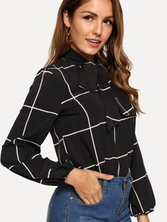 Tie Neck Grid Print Top