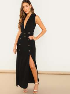 Double Breasted M Slit Belt Trench Dress