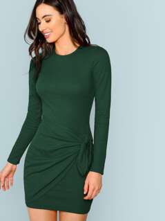 Knotted Wrap Front Ribbed Bodycon Dress