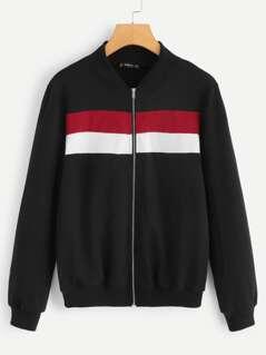 Zip Up Color Block Jacket