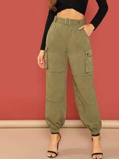 Self Adjustable Belted Elastic Hem Pants