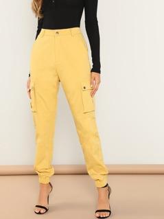 Slant Pocket Elastic Hem Solid Utility Pants