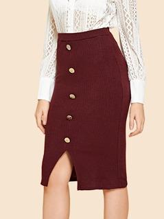 Button Front Slit Hem Ribbed Skirt