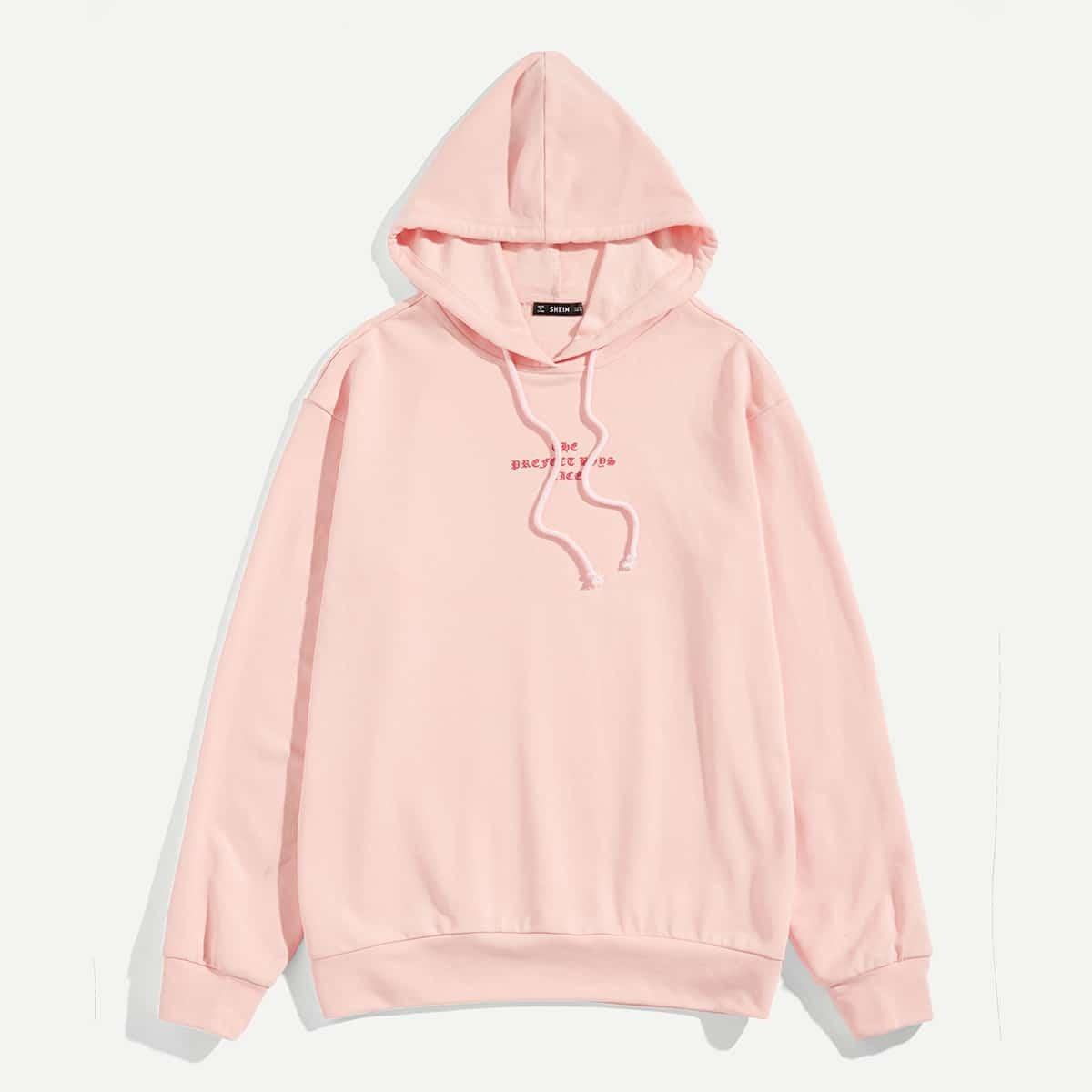 Roze  Casual Koord Tekst Sweatshirts voor heren