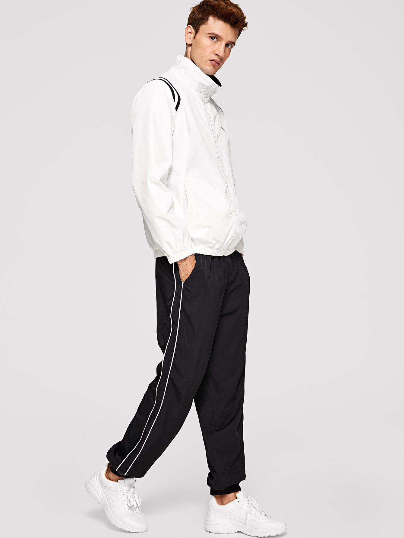 Для мужчин пальто в полоску и брюки комплект от SheIn