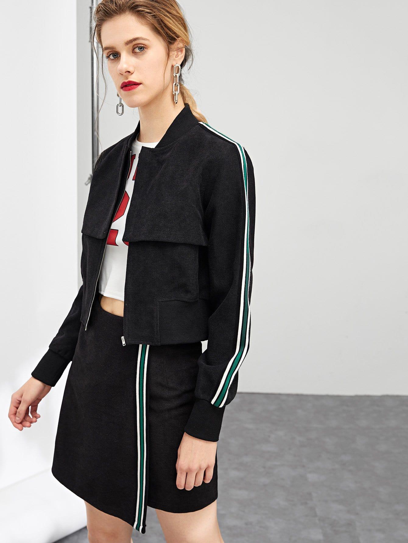 Купить Блуза с полосатыми рукавами и асимметричная юбка, Victoriab, SheIn